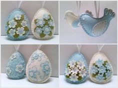 Baby blue and white Felt Easter decorations by DusiCrafts