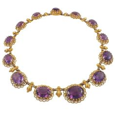 The necklace is set with 13 graduated oval amethysts measuring from 20 X 15 mm to 12 X 10 mm. Each stone is Purple Necklace, Amethyst Necklace, Gold Necklace, Jewelry Necklaces, Gold Jewelry, Jewlery, Bracelets, Victorian Jewelry, Antique Jewelry