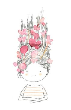 Prunier En Fleurs \ flowers in her hair illustration Art And Illustration, Illustration Mignonne, Illustrations And Posters, Art Mignon, Inspiration Art, Art Design, Cute Drawings, Cute Art, Painting & Drawing