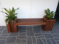OUTDOOR WOODEN PLANTER BENCH SEAT