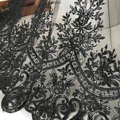 Vintage Style Black Lace Fabric Alencon Sequins Fabric for Dress, Lace Bolero, Bridal Jacket Black Lace Fabric, Bridal Lace Fabric, Sequin Fabric, Floral Fabric, Tulle Fabric, Black Lace Tattoo, Wedding Skirt, Wedding Veils, Lace Bolero