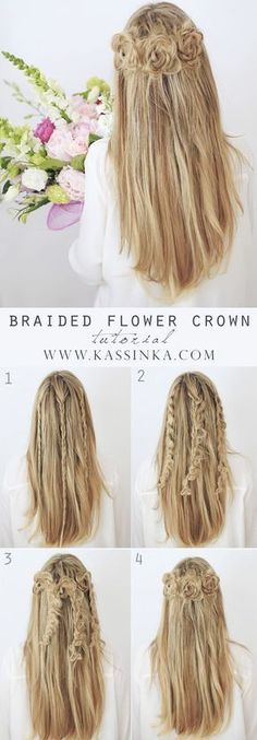 Braided flower crown wedding hair tutorial / http://www.himisspuff.com/easy-diy-braided-hairstyles-tutorials/61/