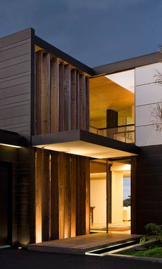 Love the use of timber and upside down feature lighting!! Forman House | Auckland, New Zealand | @John Bossley Architects