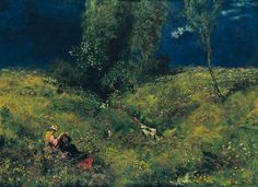 """Hans Thoma (1839–1924) """"Summer""""1972, oil on canvas , Height: 76 cm (29.9 in). Width: 104 cm (40.9 in)."""