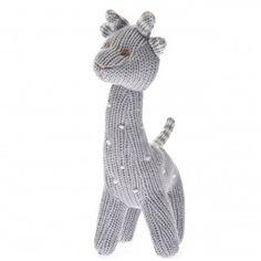 Knit Giraffe Rattle Polka Dot Grey