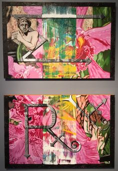 """""""Take Your Medicine, Make Your Music"""" - (2) 24"""" x 36"""" panels - oil, spray paint, house paint & sawdust on canvas. AVAILABLE $1000.  by Nicholas Tindall 2015"""