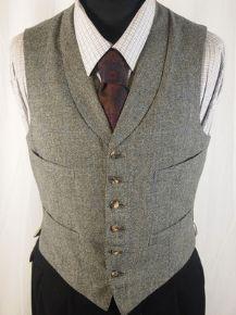 "1963 Mens Vintage Grey Tweed 4 Pocket Check Lapels Waistcoat Vest Chest 36-38"""