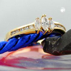 Ring, Zirkonia, vergoldet 3 Micron accessorize24-30023-62