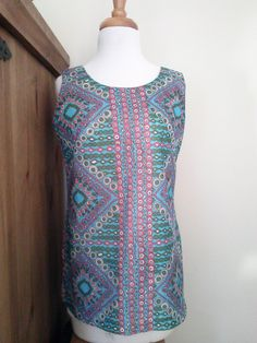 Mod 70's Turquoise Geometric Print Tunic Tank Top / Women's Size M / Retro Top by JulesCristenVintage on Etsy