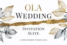 OLA Wedding Invitation Suite by OlgaBegakArt on Gold Watercolor, Watercolor Wedding, Watercolor Background, Welcome Poster, Butterfly Template, Vintage Botanical Prints, Gold Wedding Invitations, Wedding Templates, Invitation Suite