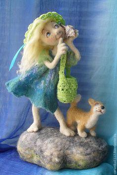 """Купить Авторская кукла """"Прогулка у моря."""" - валяная кукла, интерьерная композиция, морская тема"""
