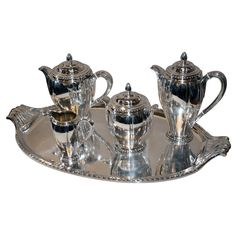 Shop tea sets and other dining, serveware and glass from the world's best furniture dealers. Silver Tea Set, Victorian Furniture, Tea Service, Tea Sets, Vintage Tea, Event Ideas, Teapot, Product Design, Cool Furniture