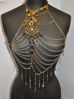 Spectacular SWAROVSKI ELEMENTS & trinity brass chain jewellery - made by Helen :)