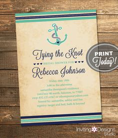 Nautical Bridal Shower Invitation, Tying the Knot, Anchor, Navy, Mint Green, Destination Wedding, Printable File (Custom, INSTANT DOWNLOAD) by InvitingDesignStudio on Etsy
