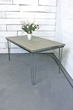 Reclaimed Grey Washed Scaffolding Board Dining by inspiritdeco