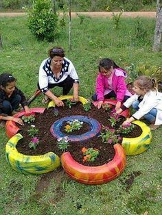 Collect a number of recycled tires and paint them with children. After painting all tires, place them into the shape of a flower, add dirt and plants. Assist children with planting flowers and watering them afterwards. The tires can be sourced from home, mechanic shops etc. They can be used for other purposes such as tyre swings, obstacle courses for the children and seperate plant holders for vegetables or different plants and flowers.
