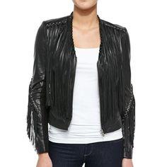 LaMarque Sabine Leather Fringe Jacket