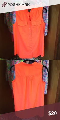J crew top Beautiful j crew top in neon orange⭐️NWOT great condition⭐️size 0⭐️                                      PRICE IS FINAL unless purchased off Poshmark J. Crew Tops Button Down Shirts
