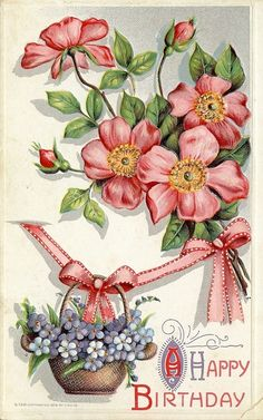 Beautiful vintage-looking birthday postcard Birthday Postcards, Vintage Birthday Cards, Vintage Greeting Cards, Vintage Ephemera, Birthday Greeting Cards, Vintage Paper, Vintage Postcards, Vintage Images, Happy Birthday 1