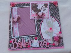 Floral Rose Ballet Girly Pink/Brown Butterflies12x12 Premade Scrapbook Page by KARI
