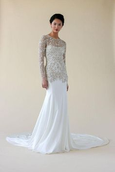 Marchesa paired with St. Regis hotels for a collection of wedding dresses and they're...stunning. Click for more pics and info on where you can shop this gorgeous long-sleeve embellished gown.