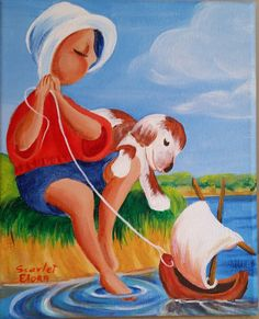 Artist Painting/ Home Decor Boy His Dog Playing by 2HappyEloras