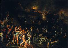 El incendio de Troya, h. 1604, Alte Pinakothek, 36 x 50 cm. Adam Elsheimer