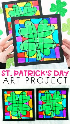Patrick's Day Art Project for Kids - Looking for a gorgeous St. Patrick's Day art project for kids to make this year? If so, you are going to adore this four leaf clover artwork. Saint Patricks Day Art, St Patricks Day Crafts For Kids, St Patrick's Day Crafts, Spring Crafts For Kids, Projects For Kids, Holiday Crafts, Arts And Crafts, Art Crafts For Kids, Craft Kids