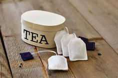 DIY play tea bags!!!! I have the haba wooden ones for the kids, but they tangle often and the little man tends to want to serve lots and lots of tea to guests...