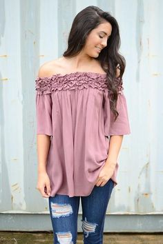 Ginger Off-The-Shoulder Ruffle Top - Dusty Mauve