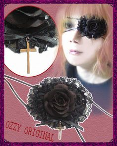 Black rose and lace eyepatch