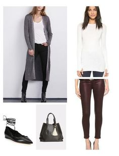 Add a subtle shimmer to your casual wear this season in the form of this chic cashmere blend cardigan and metallic jeans - both statement pieces that don't fail to make a lasting impression. Oliveve tote and MK lace-up flats complement this outfit perfectly, and the modernist jewelry adds the finishing touches.