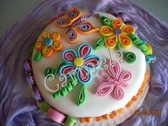 quilled cake - so cute! lots more fun than real quilling too!