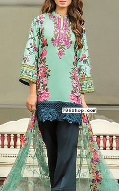 Sea Green Lawn Suit | Buy Kalyan Eid Collection Pakistani Dresses and Clothing online in USA, UK