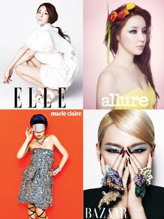 2NE1 members strike a pose for solo pictorials in 4 different fashion magazines