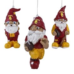 USC Trojans Resin Gnome 3-Pack Ornament Set