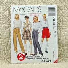 7815 McCALLS Uncut PATTERN 1995 Women Front Pleated Pencil Leg Pants Flared Shorts Left Pocket Opening Optional Cuffs Size 4 6 8 2-oz