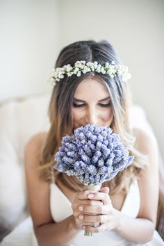 lavender bridal bouwuet + babys breath flower crown - brides of adelaide