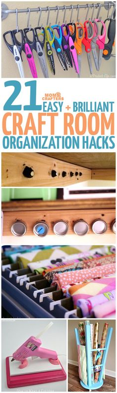 These brilliant craft room organization hacks and ideas will keep your supplies at your fingertips. Youll find lots of DIY organization tips and tricks. - The Crafting Room Organisation Hacks, Organizing Hacks, Sewing Room Organization, Diy Hacks, Craft Room Storage, Paper Storage, Diy Storage, Storage Ideas, Craft Rooms