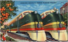 """""""Seaboard Railway's Orange Blossom Specials"""" ~ ca. 1940s postcard. The Orange Blossom Special ran between New York City and Miami between 1925 and 1953."""