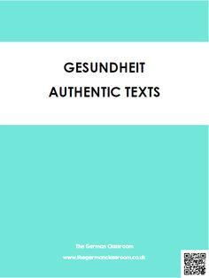 Booklet of authentic texts with reading comprehension questions on the topic of health. Good for GCSE German!