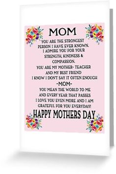 Mother Discover Mom Happy Mothers Day Poem Beautiful Mothers Day Gifts For Mom Mothers Day Cards & Gifts Greeting Card by hustlagirl Happy Mothers Day Poem, Mom Poems, Mother Poems, Mother Day Message, Mother Day Wishes, Mothers Day Gifts From Daughter, Diy Mothers Day Gifts, Mothers Day Quotes, Mothers Day Crafts For Kids