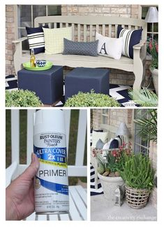 Tips for what paints to use for painting outdoor furniture, garden pots, rusted metal and accessories. The Creativity Exchange