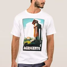 Shop Agrigento Vintage Travel Advertisement T-Shirt created by VintageCornerStore. Personalize it with photos & text or purchase as is! Vintage Travel, Vintage Posters, Fitness Models, Unisex, Distance, Casual, Sleeves, Mens Tops, Cotton
