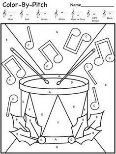 Christmas Color-by-Note Music Coloring Pages Preschool Music, Music Activities, Teaching Music, Piano Lessons, Music Lessons, Music Lesson Plans, Music Worksheets, Partition, Music For Kids