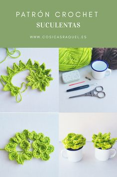 Succulent plants crochet - pattern The Effective Pictures We Offer You About cactus craft - Picot Crochet, Crochet Diy, Crochet Home, Love Crochet, Crochet Stitches, Crochet Flower Patterns, Crochet Toys Patterns, Amigurumi Patterns, Crochet Flowers