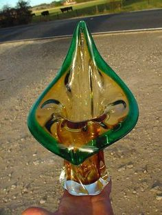 VINTAGE MURANO ART GLASS  JACK IN THE PULPIT  VASE-GREEN&CITRINE-HAND BLOWN-RARE
