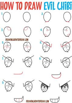 How to Draw Sneaky / Devious / Evil Chibi Expressions / Emotions in Easy Step by Step Drawing Tutorial for Beginners How to Draw Step by Step Drawing Tutorial Drawing