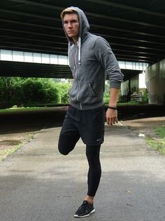 mens athletic style. fit. fitness. inspiration. gym. workout. clothes. clothing. outfit. look. sweatpants. tights. running shoes. hoodie. style. fashion.