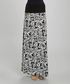 Another great find on #zulily! Black & White Geometric Zigzag Maxi Skirt #zulilyfinds